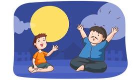 男孩讲震动故事给一个人在满月夜 库存照片