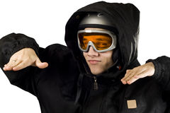 男孩讽刺雪板运动 免版税库存图片
