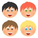 男孩设置了儿童与另外头发颜色和眼睛的` s面孔与与一张开放嘴的大微笑与舌头和白色牙 梳子 免版税库存图片