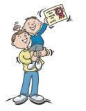 男孩证明父亲 免版税图库摄影