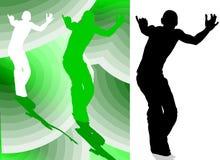 男孩跳舞剪影 免版税库存图片