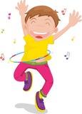 男孩跳舞唱歌 免版税库存照片