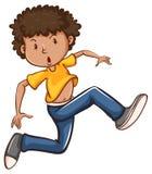 男孩跳舞的一张简单的色的图画 免版税库存图片
