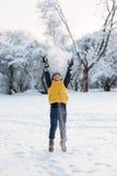 男孩跳跃的投掷的雪在森林附近 免版税库存照片