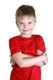 男孩身分和微笑,调查照相机 库存图片
