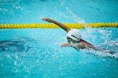 男孩运动员游泳在水池的蝶泳 免版税图库摄影
