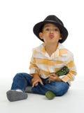男孩逗人喜爱亲吻 免版税库存图片