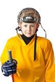 男孩逗人喜爱的曲棍球统一黄色 免版税库存图片