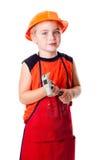男孩逗人喜爱的锤子 免版税库存照片