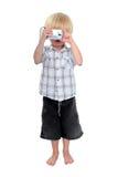 男孩采取年轻人的查出的照片照片 免版税库存照片