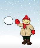 男孩雪球投掷 免版税库存图片