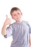 男孩青少年的显示冷却现有量符号 图库摄影