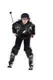 男孩青春期前的滑雪雪 免版税库存照片