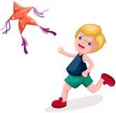 男孩风筝使用 库存照片