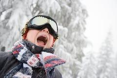 男孩风镜滑雪 库存图片