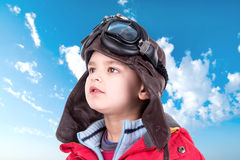 年轻男孩飞行员 库存照片