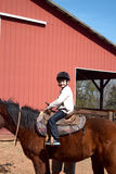 男孩骑乘马 库存照片