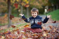 年轻男孩,投掷在公园离开 库存照片