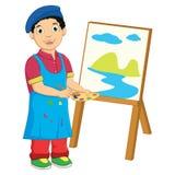 男孩绘画传染媒介例证 免版税库存照片