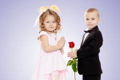 男孩给女孩一朵花 库存图片