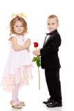 男孩给女孩一朵花 免版税图库摄影