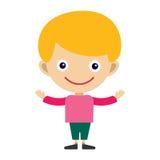 男孩画象乐趣愉快的年轻表示逗人喜爱的少年漫画人物和happyness小孩平展人的快乐的喜悦 库存图片