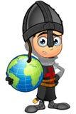 男孩黑骑士-拿着地球 免版税库存图片