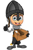 男孩黑骑士-拿着小包 免版税库存图片