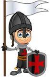男孩黑骑士-拿着旗子 图库摄影