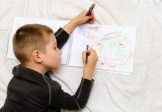 男孩画 免版税库存照片