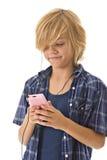 男孩MP3播放器年轻人 库存图片
