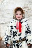 男孩Nenets全国礼服的驯鹿牧民 免版税库存图片