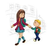 男小学生和女小学生 免版税库存图片