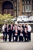 男小学生在Edinborgh,苏格兰 库存照片