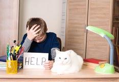 男小学生有做家庭任务的学习困难 哀伤 免版税库存照片