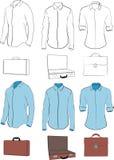 男式衬衫和公事包 免版税库存图片