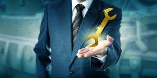 男性专家提出一把金黄板钳 免版税库存图片