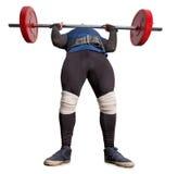 男性举重运动员培养了杠铃对您的胸口 图库摄影
