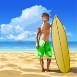 男性冲浪者 向量例证