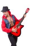 男性吉他演奏员被隔绝 库存照片