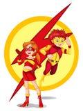 男性和一个女性超级英雄 免版税库存图片