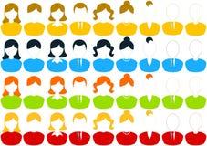 男性和女性人象集合 免版税库存图片