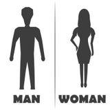 男性和女性休息室标志象 也corel凹道例证向量 库存图片