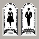 男性和女性优质休息室标志标志传染媒介收藏 免版税库存照片