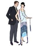 男性和女性减速火箭的时尚 免版税库存照片