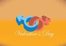 男性和女性性别标志设计为情人节 库存图片
