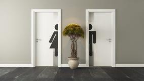 男性和女性性别的白色休息室门 免版税图库摄影