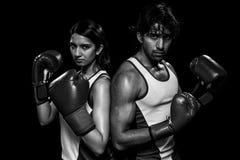 男性和女性拳击手 免版税库存照片