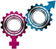 男性和女性标志-金属齿轮 免版税库存照片