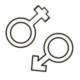 男性和女性符号集 皇族释放例证